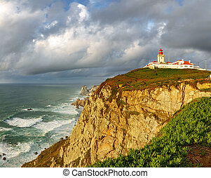 Wide angle of Cabo da Roca Lighthouse timelapse, the end of...