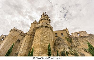 Olite Castle with cloudy sky in Navarra, Spain