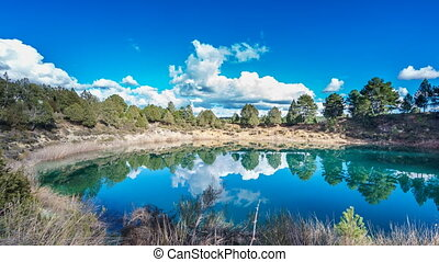 Wide angle of round lakes in palancares, Cuenca. Sliding...