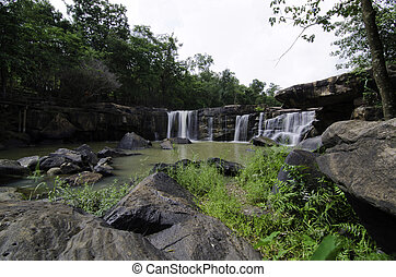 Wide Angle of Tat Ton Waterfall at Chaiyaphum province in Thailand.
