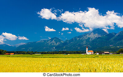 Wide angle panorama of the picturesque landscape in Slovenia.