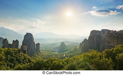 Wide angle panoramic view of Meteora mountains