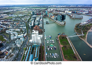 Wide angle picture of river Rhine, Duesseldorf. Seen from...