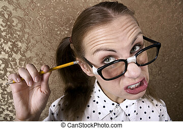 Wide Angle Portrait of Nervous Nerdy Girl Cleaning Her Ear with a Pencil