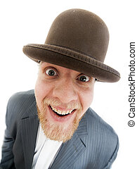 Wide-angle portrait - Wideangle portrait of a funny bearded...
