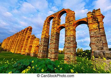 Wide angle shot of ancient roman aqueduct