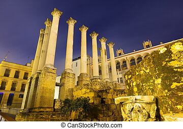 Wide angle shot of Ancient Roman temple