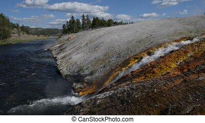Firehole River Yellowstone National - Wide angle shot of...