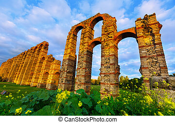 Wide angle shot of old roman aqueduct