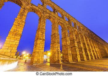 Roman Aqueduct in early morning. Segovia