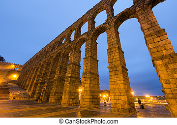wide angle shot of Roman Aqueduct in Segovia, Spain