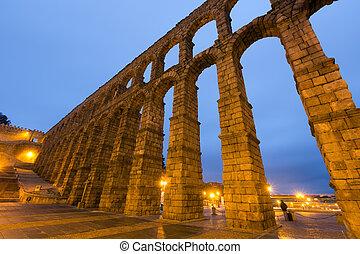 wide angle shot of Roman Aqueduct in Segovia, Spain