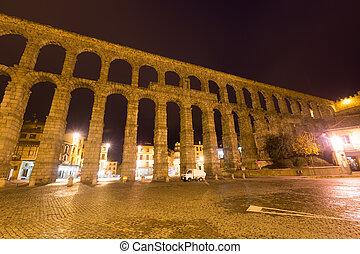 Wide angle shot of Roman Aqueduct in Segovia,