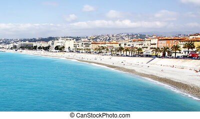 wide angle shot of the sea and beach, nice, south of france