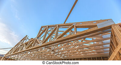 Wide angle upper roof of new constructed building