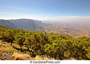 Ethiopian highlands - Wide angle view from the Simien...