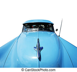 Wide angle view of a vintage american car isolated on white background. Clipping path included.