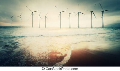 Wide angle view of a wind farm - Gorgeous shot of a working...