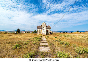 Wide Angle View of Abandoned House
