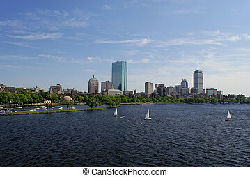 wide angle view of boston - View of the boston skyline from...