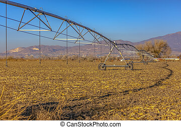 Wide angle view of center pivot irrigation system