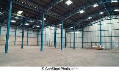Wide angle view of empty warehouse or factory . Industry investment concept .