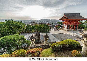 Kiyomizu-Dera temple at sunset - Wide angle view of...
