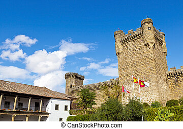 Wide angle view of Oropesa Castle, Toledo, Spain