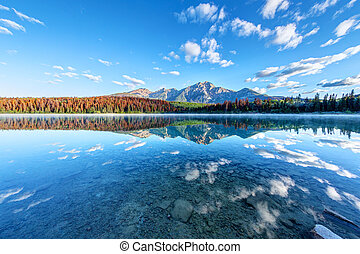 Wide Angle View of Patricia Lake in Jasper National Park - ...