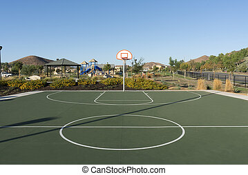 Wide angle view of public basketball court