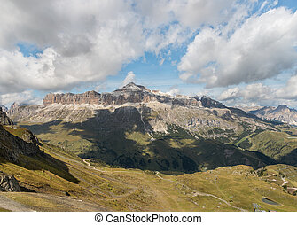Sella Group mountain range in Dolomites, Italy