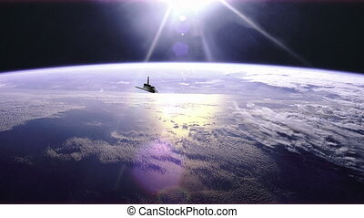 Wide angle view of the Space Shuttle over earth - 4K...