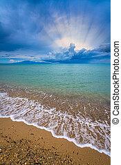 Wide angle view of the Tsilivi Beach