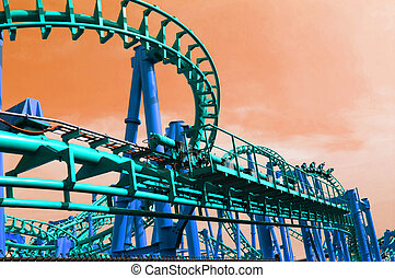 Wide angle view roller coaster track applied with vintage...