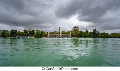 El Retiro lake under stormy clouds in Madrid - Wide angle...