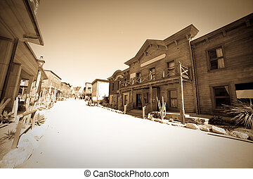 vintage photo of Far west town - Wide angle vintage photo of...