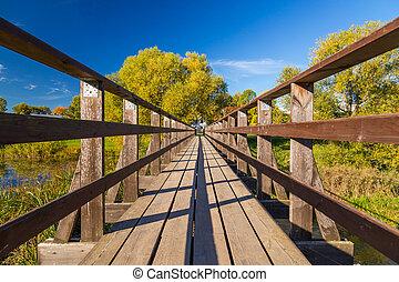 wide angle wooden bridge
