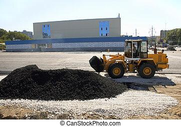 wide asphalt laying - asphalt laying