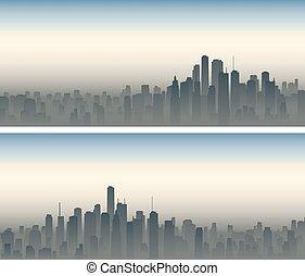 Wide banners of big city in haze.