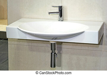 Simple white basin in wide oval shape