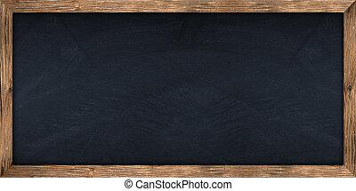 wide blackboard with wooden frame