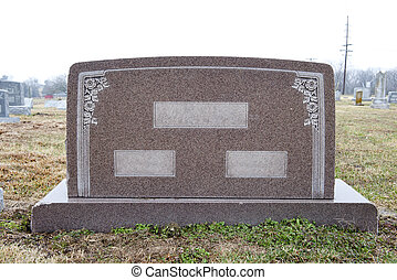 Wide, blank tombstone - Marble tombstone with places to...