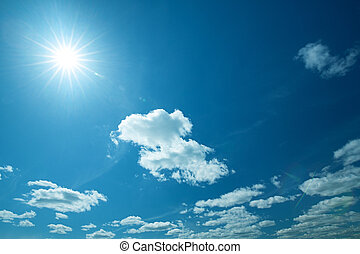 Wide blue skies and sun, abstract natural backgrounds