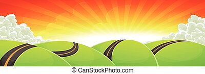 Wide Cartoon Travel Landscape With Road And Shining Sun