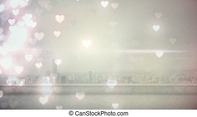 Wide city view with hearts