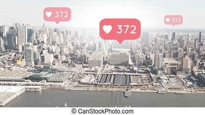 Wide city view with increasing hearts 4k