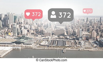 Wide city view with social media icons