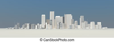 Wide Cityscape Model 3D - no Shadow - wide 3D cityscape...