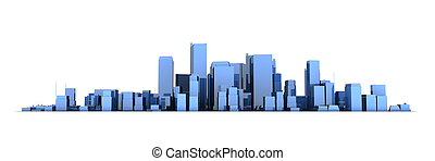 Wide Cityscape Model 3D - Shiny Blue City White Background