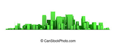 Wide Cityscape Model 3D - Shiny Green City White Background...